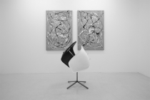 LELLO//ARNELL:<br/> <em>Anthropométrie</em> | 2013 | Acrylic on canvas | 120cm x 80cm<br/><em>Sanctuary of Duality</em> | 2013 | Eames chair seats and steel base | 90cm x 40cm x 60cm