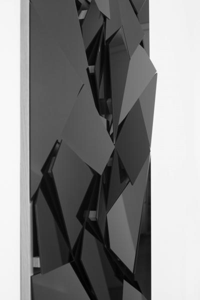 LELLO//ARNELL: <em>Apophenia (Black)</em>   Detail   2014   Black glass, oak, MDF   130cm x 90cm
