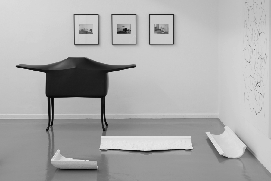 LELLO//ARNELL: The Lesser Ark of Transmission (left)   2009   Chairs, radio, re-enforced shrink-wrap
