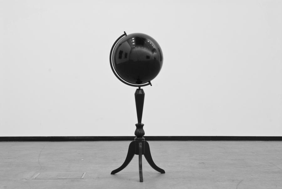 LELLO//ARNELL: <em>Taking One Step Back in Order to Take Two Steps Forward</em>   2008   Varnished antique world globe   105cm x 35cm x 35cm