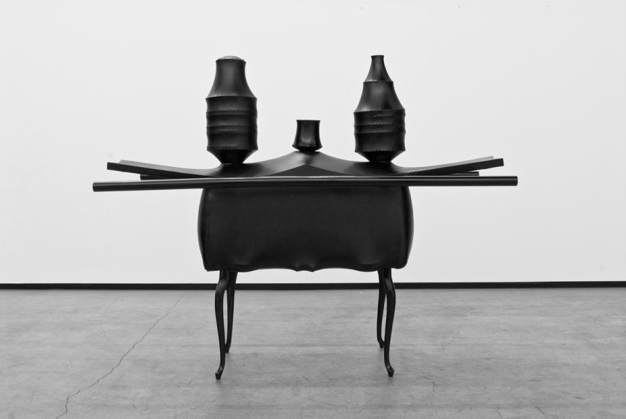 LELLO//ARNELL: <em>Gentleman's Traveling Shrine</em><br/>2008   Chairs, porcelain, silver, crystal, wood, shrink-wrap   140cm x 80cm x 140cm<br/>Collection of Sørlandet Art Museum