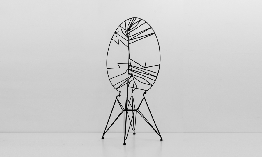LELLO//ARNELL: <em>Stockholm Syndrome</em><br/>2012, Varnished steel and chair base<br/>Private collection, Brussels